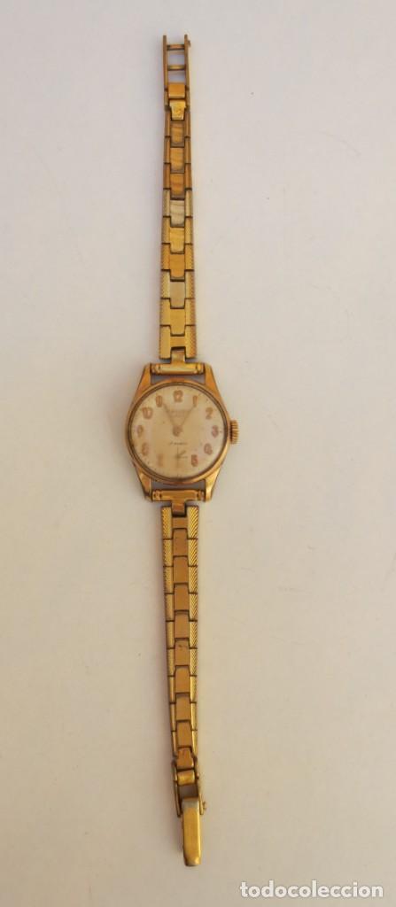 Relojes de pulsera: RELOJ CAUNY PRIMA LADY 17 RUBIS - CHAPADO EN ORO - Foto 2 - 165594554