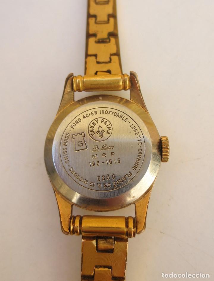 Relojes de pulsera: RELOJ CAUNY PRIMA LADY 17 RUBIS - CHAPADO EN ORO - Foto 3 - 165594554