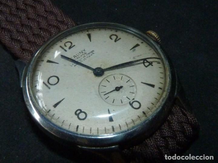 BONITO RELOJ CAUNY PRIMA TIPO MILITAR SWISS MADE CALIBRE AS168 PRECIOSO 15 RUBIS AÑOS 40 (Relojes - Pulsera Carga Manual)