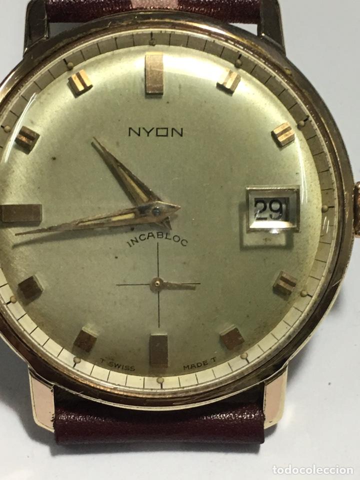 RELOJ NYON CARGA MANUAL CAJA CHAPADA ORO 10 MICRAS MAQUINA SWISS 1691/93 EN FUNCIONAMIENTO (Relojes - Pulsera Carga Manual)