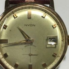 Relojes de pulsera: RELOJ NYON CARGA MANUAL CAJA CHAPADA ORO 10 MICRAS MAQUINA SWISS 1691/93 EN FUNCIONAMIENTO. Lote 167775893