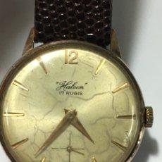 Relojes de pulsera: RELOJ HALCÓN 17 RUBIS CARGA MANUAL Y CAJA CHAPADA ORO MAQUINA SWISS AS-1560 EN FUNCIONAMIENTO. Lote 168570298