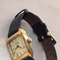 Relojes de pulsera: RELOJ DE PULSERA PARA SEÑORA CHAPADO DE ORO COMO NUEVO. Lote 168832948