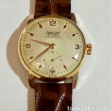 Relojes de pulsera: VINTAGE EXACTUS DE CUERDA 30 M/M. Ø-MAQUINA EXACTUS CAL. VENUS 180 - FUNCIONA BIÉN . CORREA CUERO .. Lote 168241348