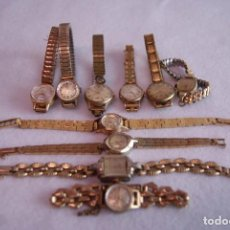 Relojes de pulsera: LOTE DE 10 RELOJES MECANICOS CHAPADOS ORO TIPO COCKTAIL DUWARD DOGMA R64. Lote 171735947