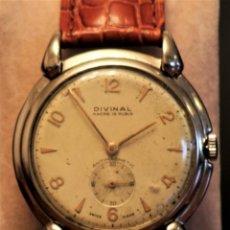 Relojes de pulsera: RELOJ DIVINAL CAJA EN RODIO. FUNCIONA OK.. Lote 172032363