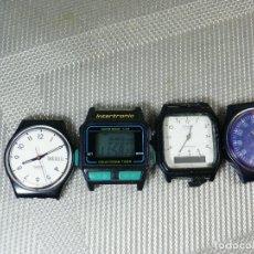 Relojes de pulsera: LOTE DE 4 RELOJES ANTIGUOS REPARAR O PIEZAS CASIO SWATCH INTERTRONIC LOTE WATCHE. Lote 174138010