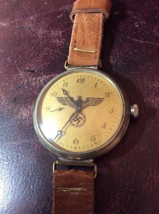 Relojes de pulsera: Antiguo Reloj De cuerda , esfera nazi de bronce . Muy raro . - Foto 3 - 175277753