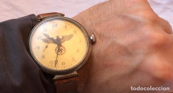 Relojes de pulsera: Antiguo Reloj De cuerda , esfera nazi de bronce . Muy raro . - Foto 6 - 175277753