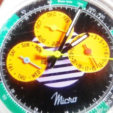 Relojes de pulsera: OCASION MICRO AÑOS 90 SIN USO TRIPLE CALENDARIO WR30M MUY BONITO LOTE WATCHES. Lote 175486998