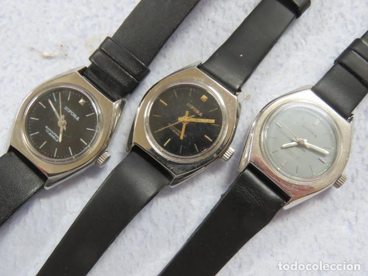 Relojes de pulsera: LOTE DE 3 RELOJES DE PULSERA MARCA BIFORA DE CUERDA MECANICOS, DE LOS AÑOS 50, CORREAS DE CUERO - Foto 3 - 175536095