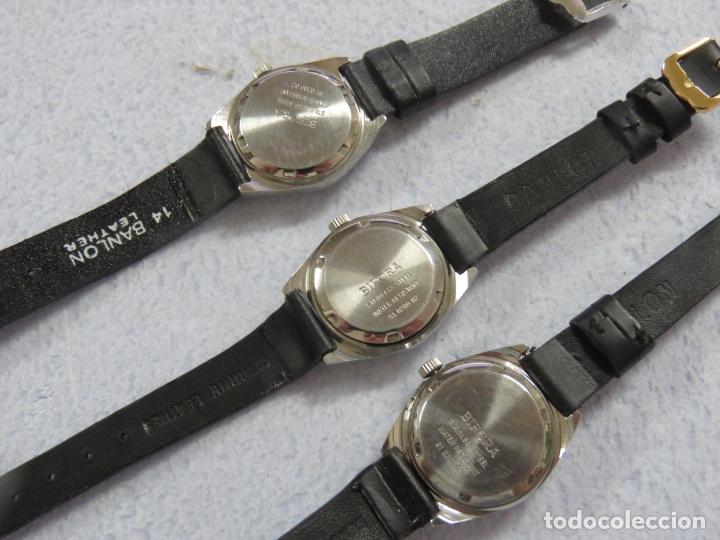Relojes de pulsera: LOTE DE 3 RELOJES DE PULSERA MARCA BIFORA DE CUERDA MECANICOS, DE LOS AÑOS 50, CORREAS DE CUERO - Foto 5 - 175536095