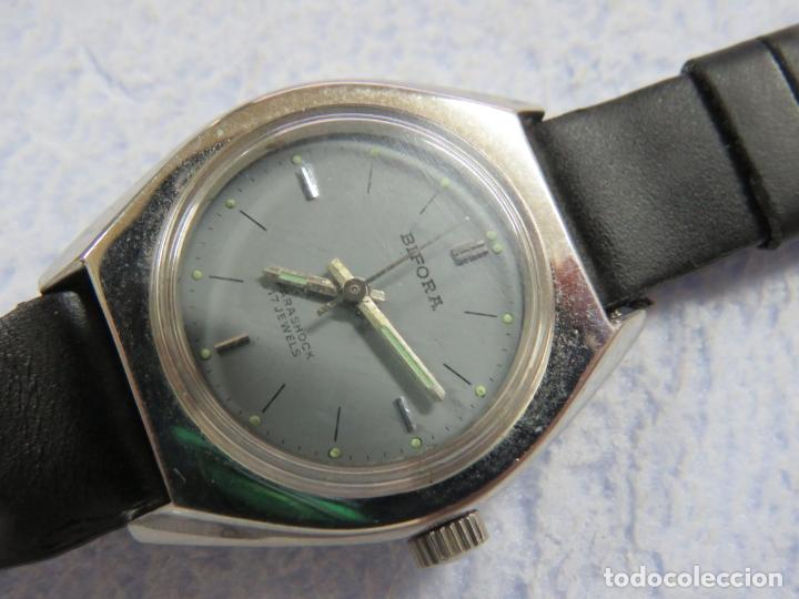 Relojes de pulsera: LOTE DE 3 RELOJES DE PULSERA MARCA BIFORA DE CUERDA MECANICOS, DE LOS AÑOS 50, CORREAS DE CUERO - Foto 7 - 175536095