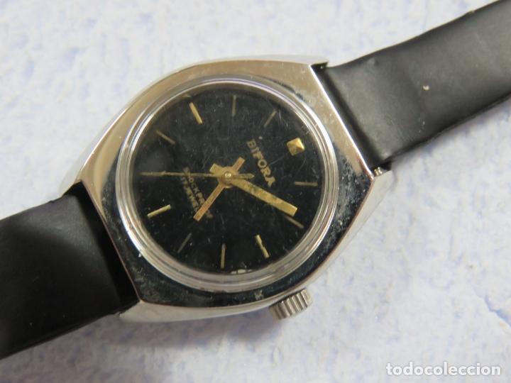Relojes de pulsera: LOTE DE 3 RELOJES DE PULSERA MARCA BIFORA DE CUERDA MECANICOS, DE LOS AÑOS 50, CORREAS DE CUERO - Foto 8 - 175536095