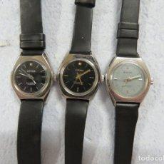 Relojes de pulsera: LOTE DE 3 RELOJES DE PULSERA MARCA BIFORA DE CUERDA MECANICOS, DE LOS AÑOS 50, CORREAS DE CUERO. Lote 175536095