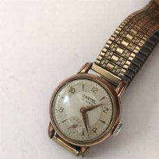Relojes de pulsera: RELOJ CARTEL CHAPADO DE ORO CARGA MANUAL VINTAGE DAMA. Lote 175900930