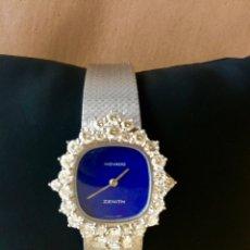 Relojes de pulsera: MOVADO ZENITH RELOJ PULSERA MUJER MANUAL DE DIAMANTES Y ORO BLANCO 18K ESFERA LAPIS-LAZULI. Lote 176024730