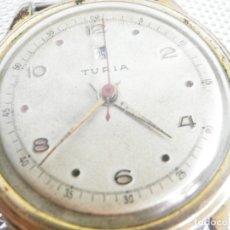Relojes de pulsera: GRAN TURIA MILITAR SEGUNDA GUERRA MUNDIAL CHAPADO EN ORO FUNCIONA LOTE WATCHES. Lote 176079047