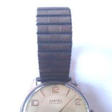 Relojes de pulsera: RELOJ CARTEL 17 RUBIS, FUNCIONA, CORREA EXOFLEX. MED 38 MM SIN CONTAR CORONA. Lote 176148195