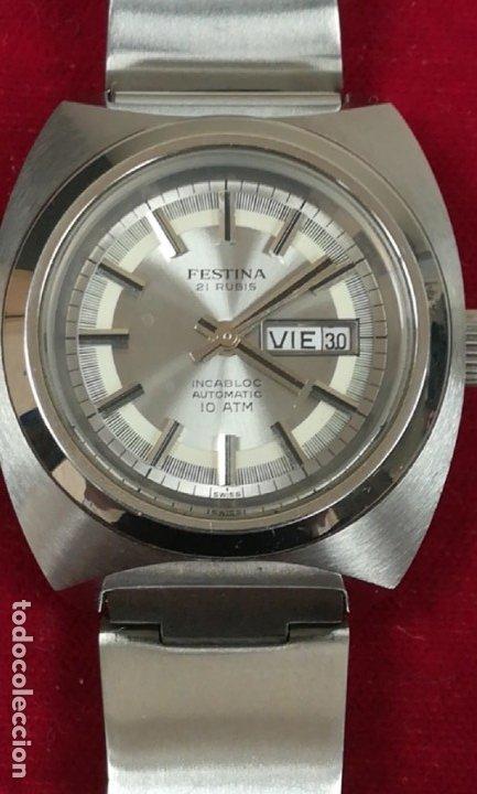 Relojes de pulsera: Bonito reloj Festina años 70 totalmente nuevo automático 10 ATM Swiss - Foto 3 - 176309449