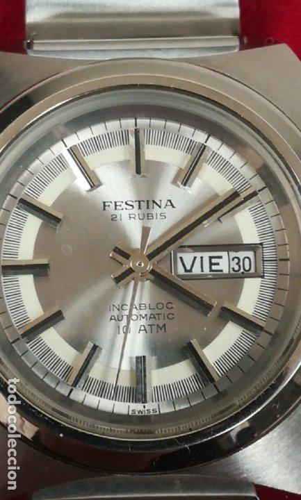 Relojes de pulsera: Bonito reloj Festina años 70 totalmente nuevo automático 10 ATM Swiss - Foto 5 - 176309449