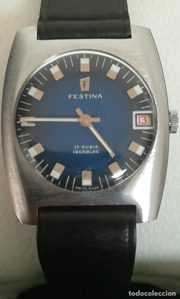 Relojes de pulsera: Reloj Festina años 70 incabloc calendario Swiss totalmente nuevo - Foto 3 - 177529829