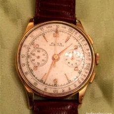 Relojes de pulsera: RELOJ CRONÓGRAFO SUIZO ORO 18 K AÑOS 50. Lote 177951554