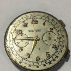 Relojes de pulsera: MAQUINARIA RELOJ TORMAS CHRONOGRAFO CARGA MANUAL ANTIGUA 37MM DE DIÁMETRO. Lote 178960933