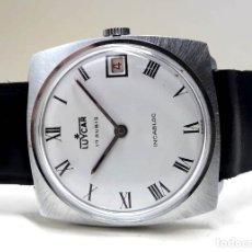 Relojes de pulsera: ELEGANTE RELOJ VINTAGE MARCA LUYCAR DE 1969 DE ACERO Y CARGA MANUAL CON PRECIOSO CALIBRE PESEUX 7056. Lote 179174540
