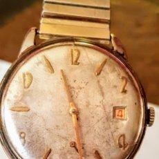 Relojes de pulsera: RELOJ CAUNY CALENDARIO 21JEWUELS CHAPADO 10MICRAS ORO DE CUERDA DIAMETRO 36.5MILIMTRS FUNCIONA PERFE. Lote 181468133