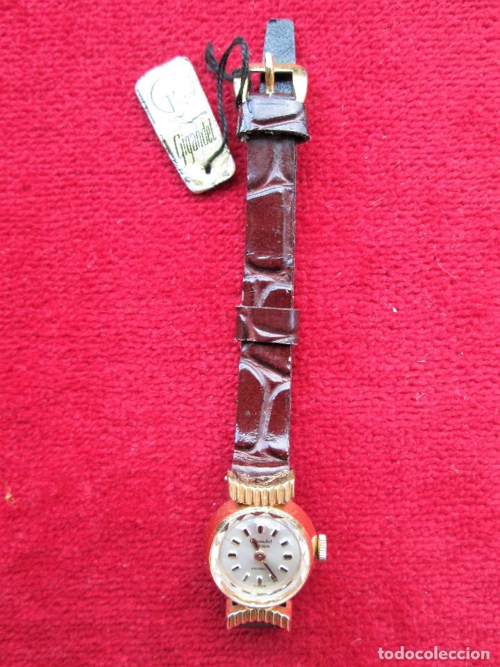 Relojes de pulsera: RELOJ DE PULSERA SUIZO CIGANDET - CARGA MANUAL,CUERDA- PULSERA PIEL MARRON ORIGINAL CON SU CAJA FOND - Foto 5 - 181551628