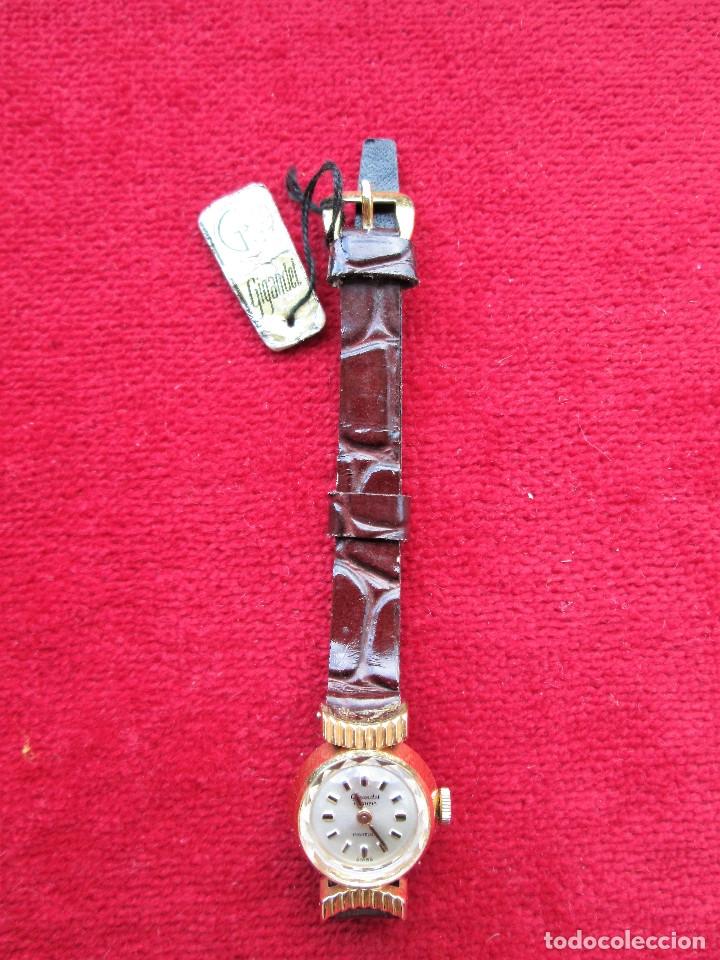 Relojes de pulsera: RELOJ DE PULSERA SUIZO CIGANDET - CARGA MANUAL,CUERDA- PULSERA PIEL MARRON ORIGINAL CON SU CAJA FOND - Foto 6 - 181551628