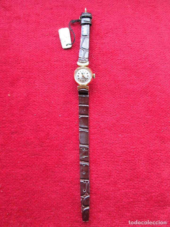 Relojes de pulsera: RELOJ DE PULSERA SUIZO CIGANDET - CARGA MANUAL,CUERDA- PULSERA PIEL MARRON ORIGINAL CON SU CAJA FOND - Foto 7 - 181551628