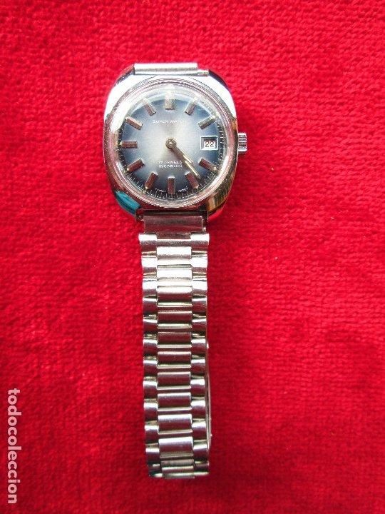 Relojes de pulsera: RELOJ DE PULSERA SUPER WATCH CARGA MANUAL,CUERDA - CALENDARIO- FUNCIONANDO - Foto 3 - 181561471