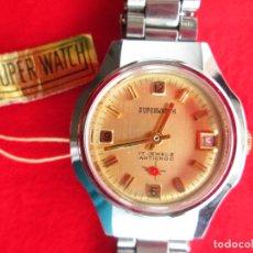 Relojes de pulsera: RELOJ DE PULSERA SUPER WATCH CARGA MANUAL,CUERDA - CALENDARIO- FUNCIONANDO. Lote 181562225