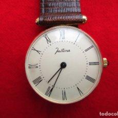 Relojes de pulsera: RELOJ DE PULSERA JUSTINA CARGA MANUAL,CUERDA - FUNCIONANDO - CORREA DE PIEL- SIN ESTRENAR -. Lote 181563783