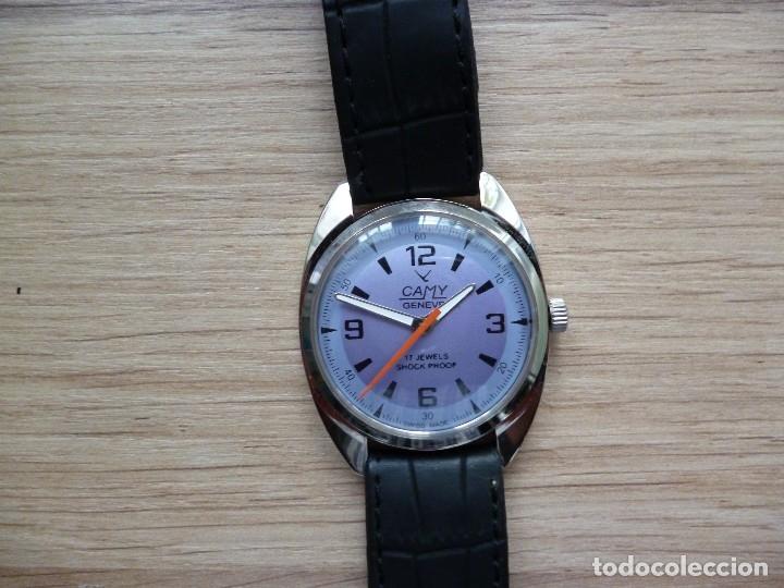 RELOJ SUIZO CAMI VINTAGE HOMBRE 40 MM HASTA CORONA Y 38 MM DIAMETRO FUNCIONA COMO NUEVO (Relojes - Pulsera Carga Manual)