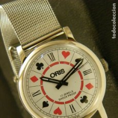 Relojes de pulsera: RELOJ ORIS VINTAGE NOS (NEW OLD STOCK) SWISS MADE 1970 38MM CARGA MANUAL POKER CASINO MILANESA. Lote 182611291