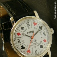 Relojes de pulsera: RELOJ ORIS VINTAGE NOS (NEW OLD STOCK) SWISS MADE 1970 38MM CARGA MANUAL POKER CASINO DADOS. Lote 182612887