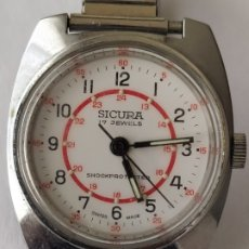 Relojes de pulsera: RELOJ SICURA SWIS MADE 17 JEWELS SHOCKPROTECTED FUNCIONA PERFECTAMENTE. Lote 182630861