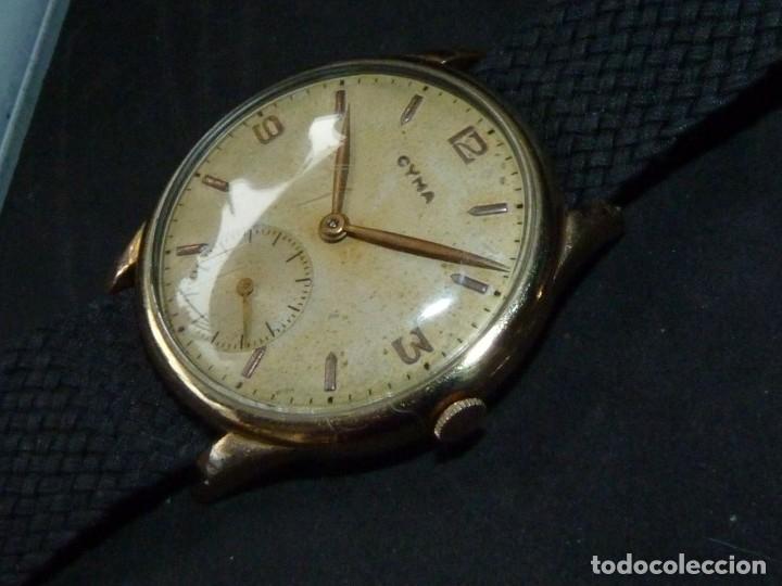 Relojes de pulsera: Precioso reloj CYMA calibre 586 swiss made 15 rubis años 50 BAJISIMO NÚMERO DE SERIE 130... 37 mms - Foto 2 - 182670566