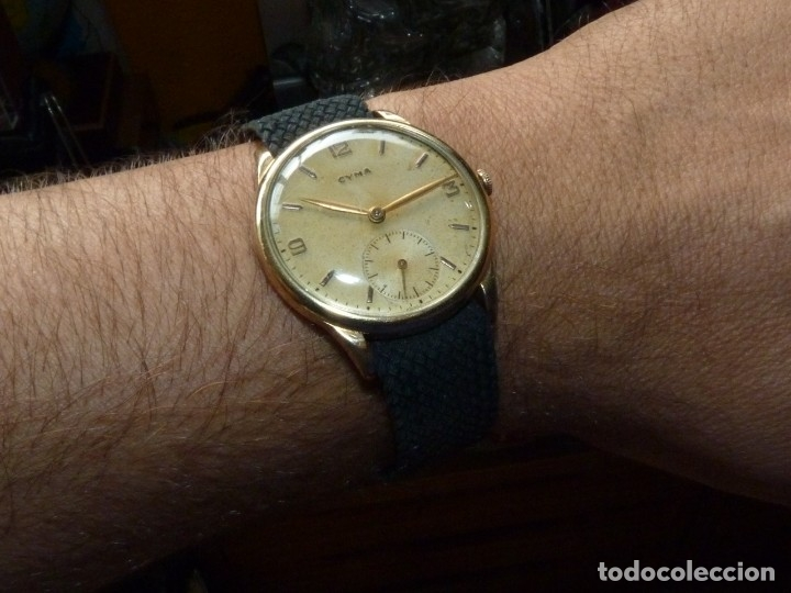 Relojes de pulsera: Precioso reloj CYMA calibre 586 swiss made 15 rubis años 50 BAJISIMO NÚMERO DE SERIE 130... 37 mms - Foto 11 - 182670566