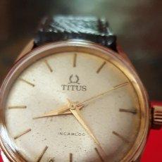 Relojes de pulsera: RELOJ SWSS TITUS INCABLO 17JEWES CHAPADO 10MICRAS ORO DE CUERDA DIAMETRO 32MILIMTROS FUNCIONA PERFE. Lote 183371596