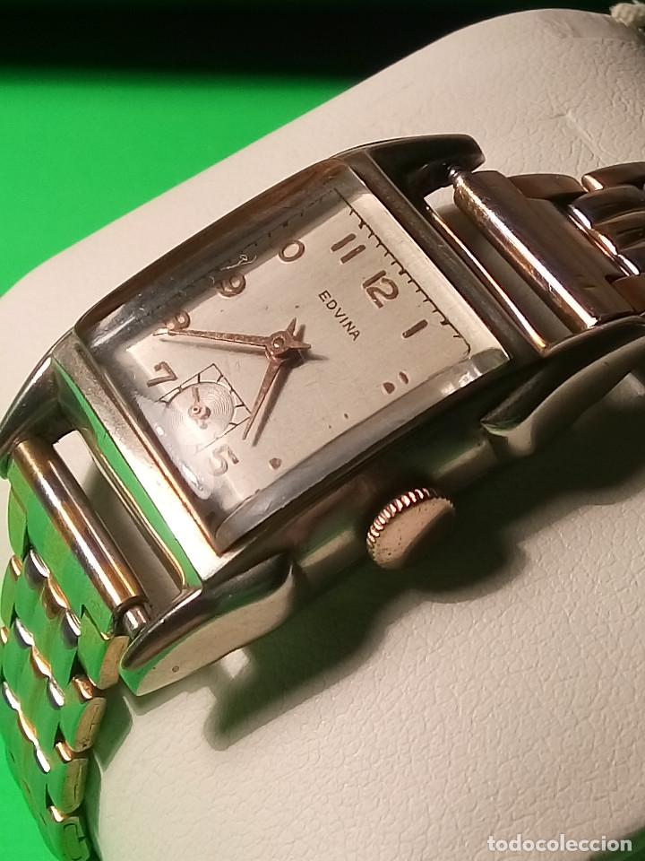 Relojes de pulsera: ANTIGUO EDVINA - SUIZO. AÑOS 50. FUNCIONANDO Y REVISADO. NBRE 2019. 22 MM. S/C. CARGA MANUAL. FOTOS - Foto 2 - 184021336
