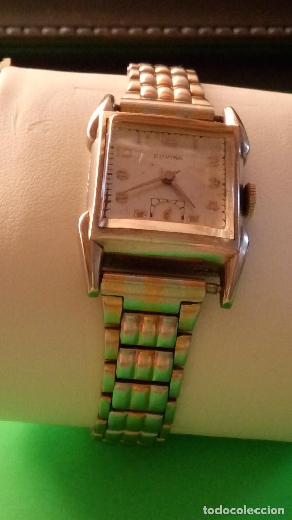Relojes de pulsera: ANTIGUO EDVINA - SUIZO. AÑOS 50. FUNCIONANDO Y REVISADO. NBRE 2019. 22 MM. S/C. CARGA MANUAL. FOTOS - Foto 4 - 184021336