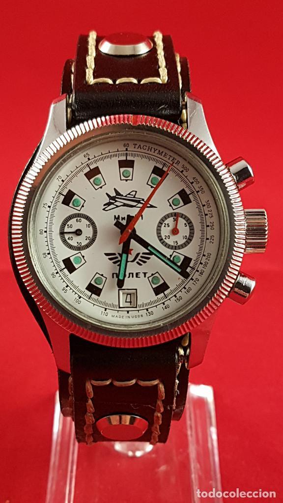 Relojes de pulsera: Reloj cronógrafo mecanico militar ruso POLJOT Buran ( Буран) de 1986 - Foto 4 - 184086755