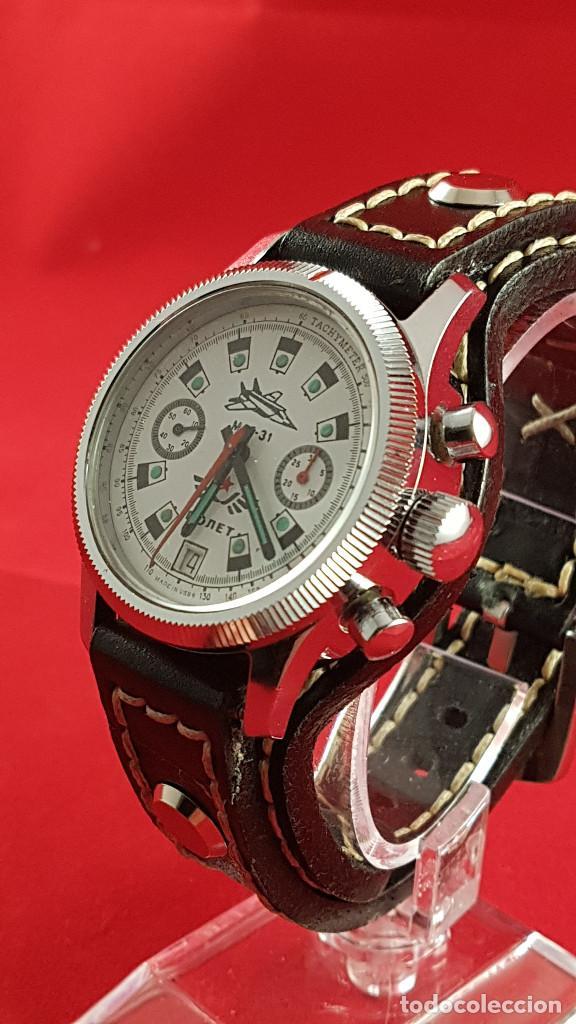 Relojes de pulsera: Reloj cronógrafo mecanico militar ruso POLJOT Buran ( Буран) de 1986 - Foto 6 - 184086755