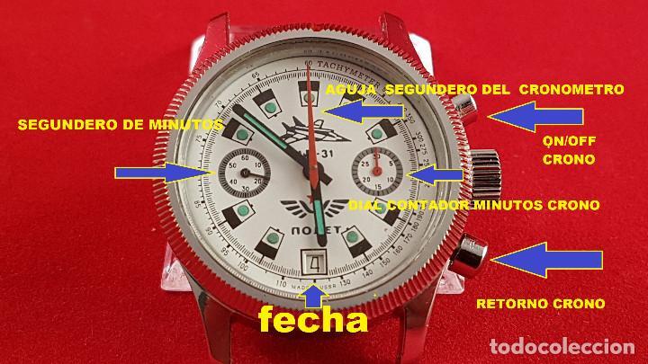Relojes de pulsera: Reloj cronógrafo mecanico militar ruso POLJOT Buran ( Буран) de 1986 - Foto 8 - 184086755