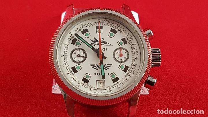 Relojes de pulsera: Reloj cronógrafo mecanico militar ruso POLJOT Buran ( Буран) de 1986 - Foto 10 - 184086755