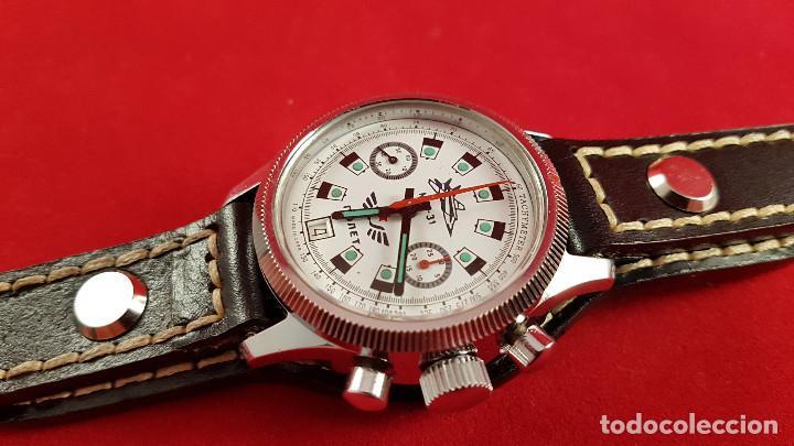Relojes de pulsera: Reloj cronógrafo mecanico militar ruso POLJOT Buran ( Буран) de 1986 - Foto 11 - 184086755